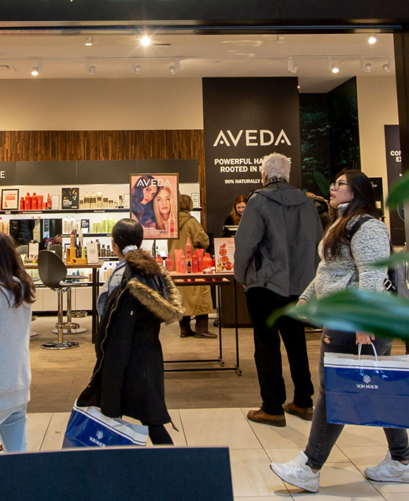 Rosedale Center shoppers outside of AVEDA store