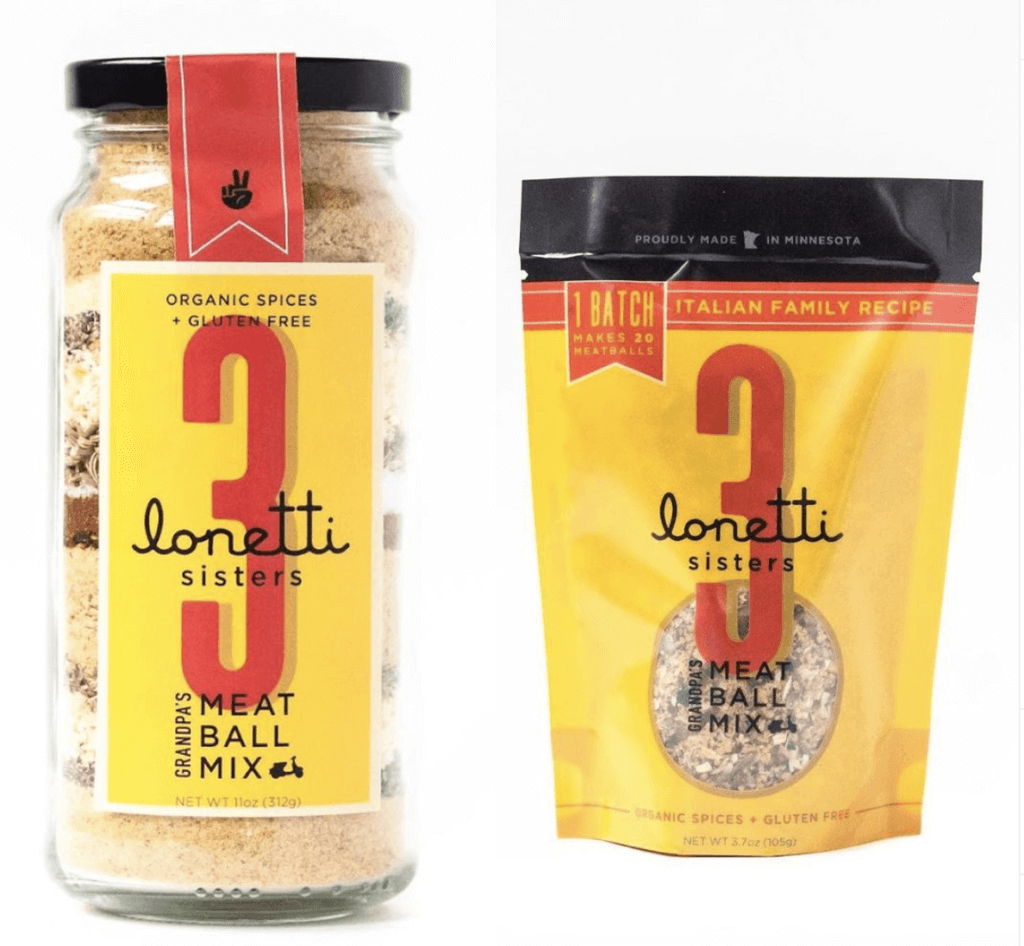 Two packages of meatball spice mix from 3 Lonetti Sisters.
