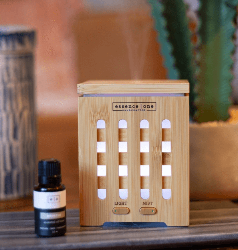 Wooden handcrafted Essence One essential oil mister.